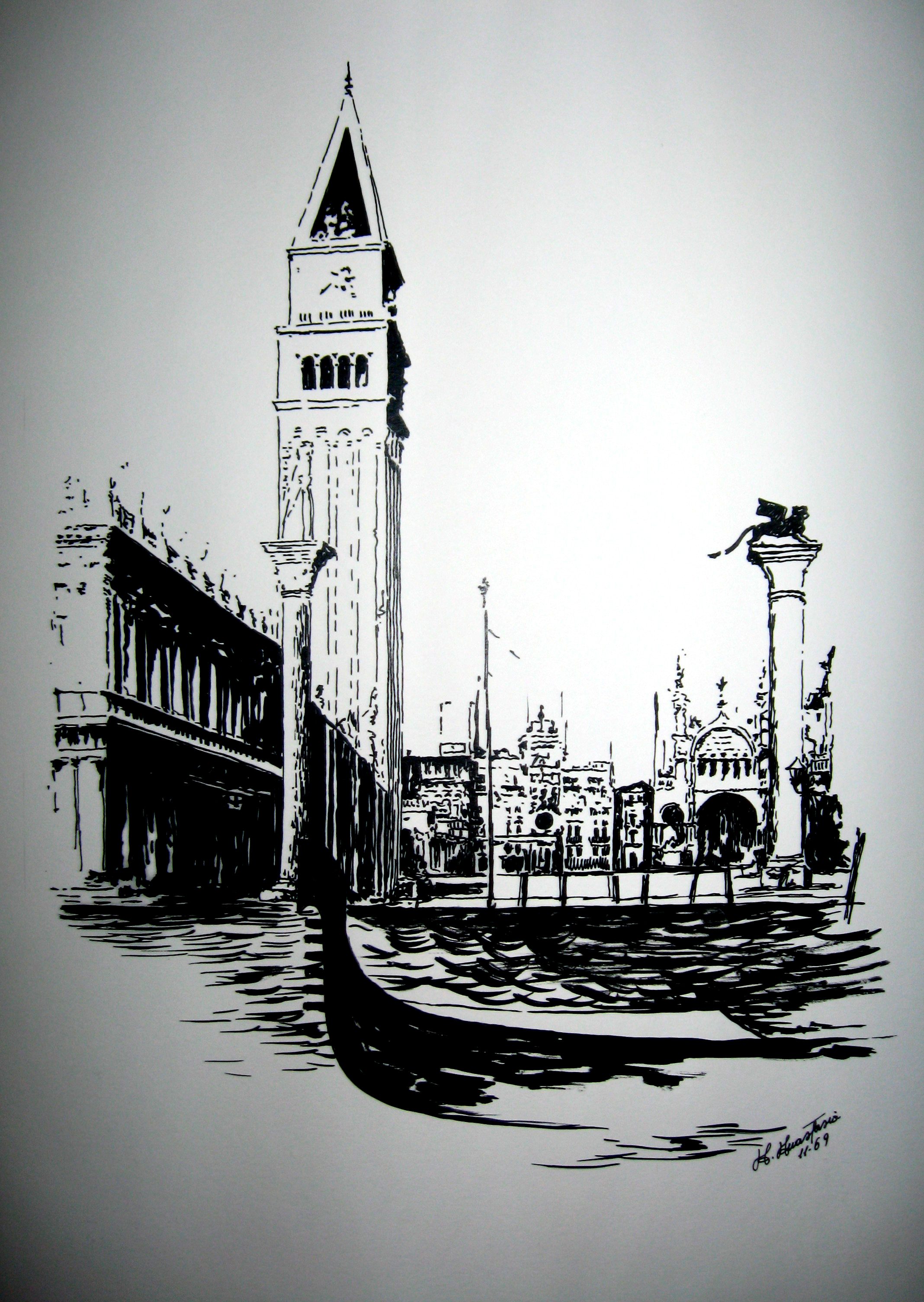 Venezia - 1969, China su cartoncino, Proprietà dell'artista.